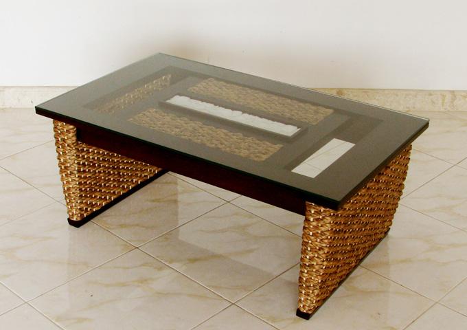 バリ風ストーンガラステーブル