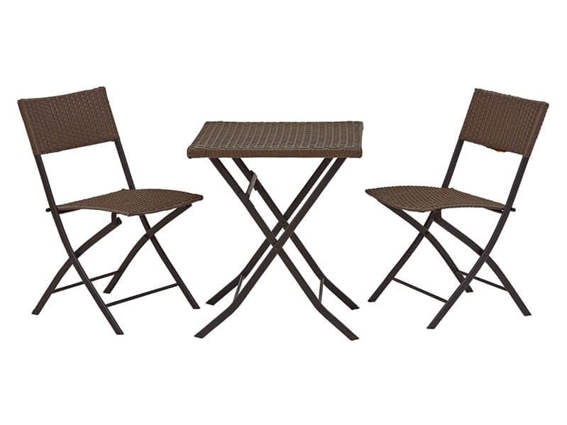テーブルチェアセット(ダークブラウン)【折りたたみ】【人工ラタン】