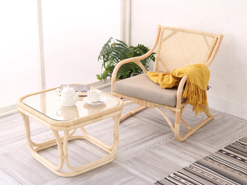 ラタンテーブルと椅子のセット(ナチュラル)