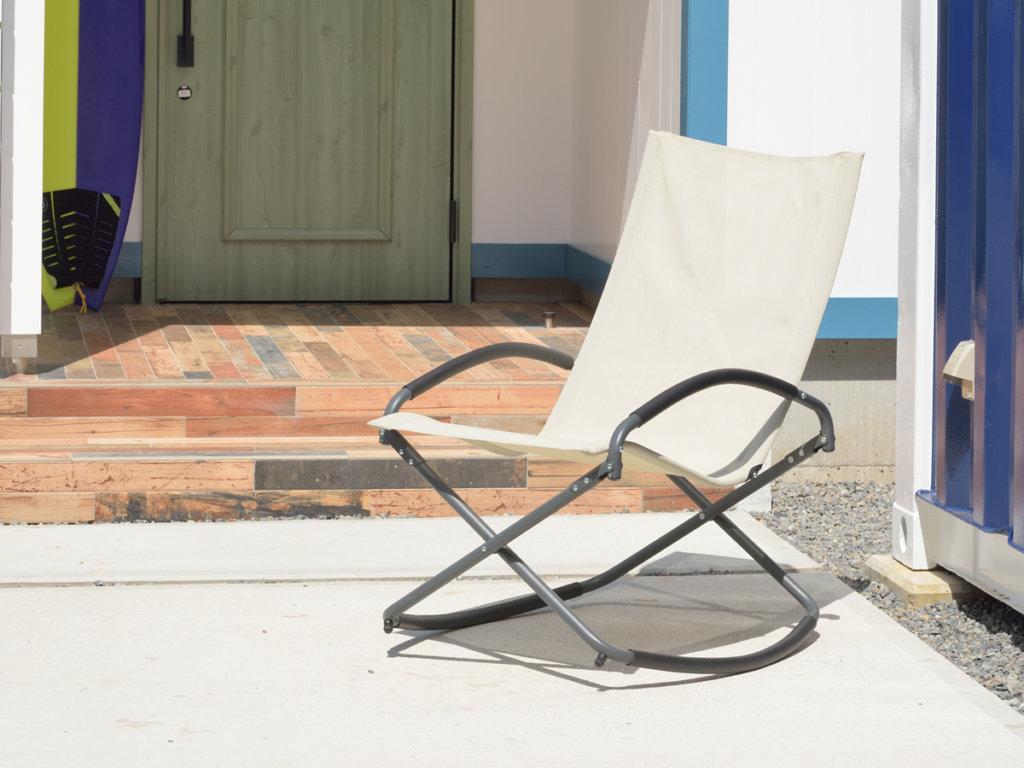 屋外で使えるロッキングチェア【折りたたみ式】