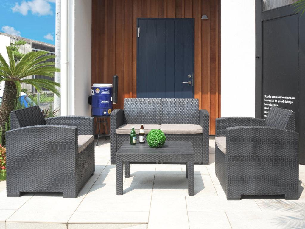 屋外用ガーデンソファ4点セット【組立式】設置イメージ
