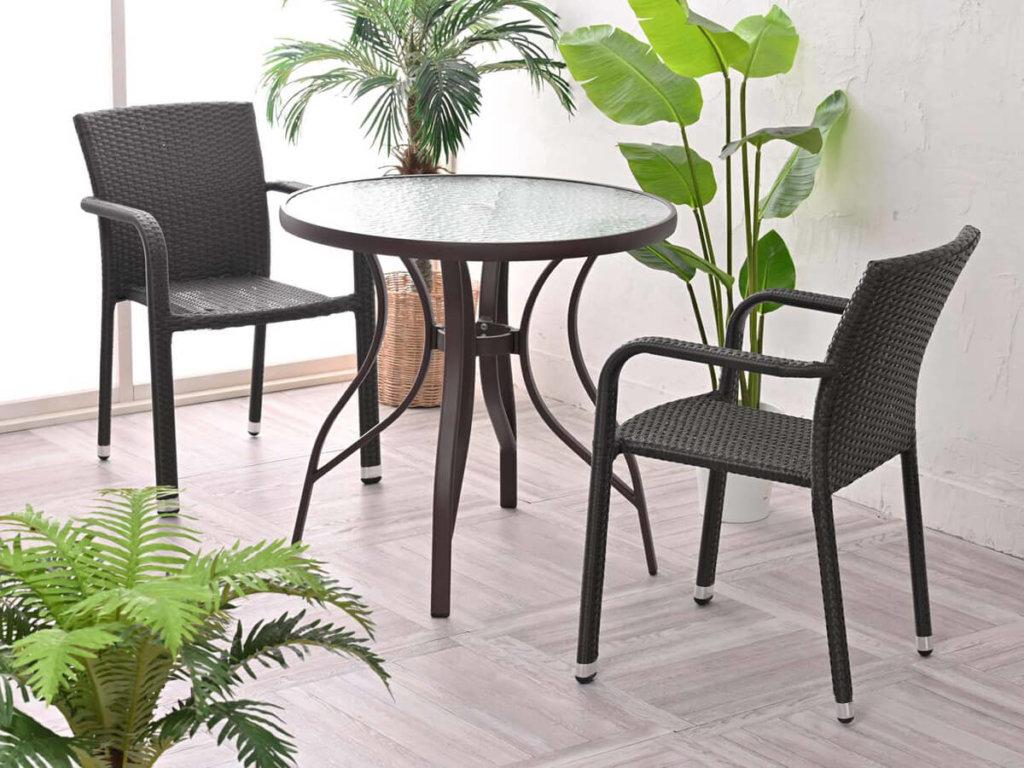 【リゾートガーデン】カフェテーブル3点セットA【Breeze Garden】